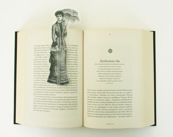 Lady under the umbrella bookmark, image from old Italian newspaper dated 1880