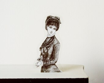 Unique Bookmark Victorian lady with the gloves, 1897