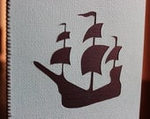 Simple pirate ship card with stitched edge