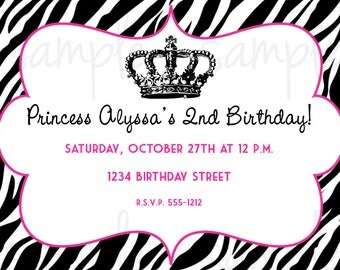 Zebra Princess Birthday Invitation