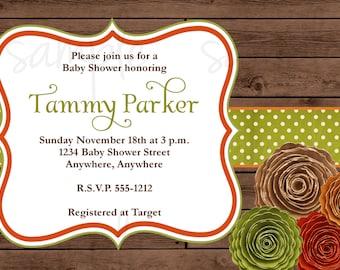 Rustic Rosettes Baby Shower Invitation