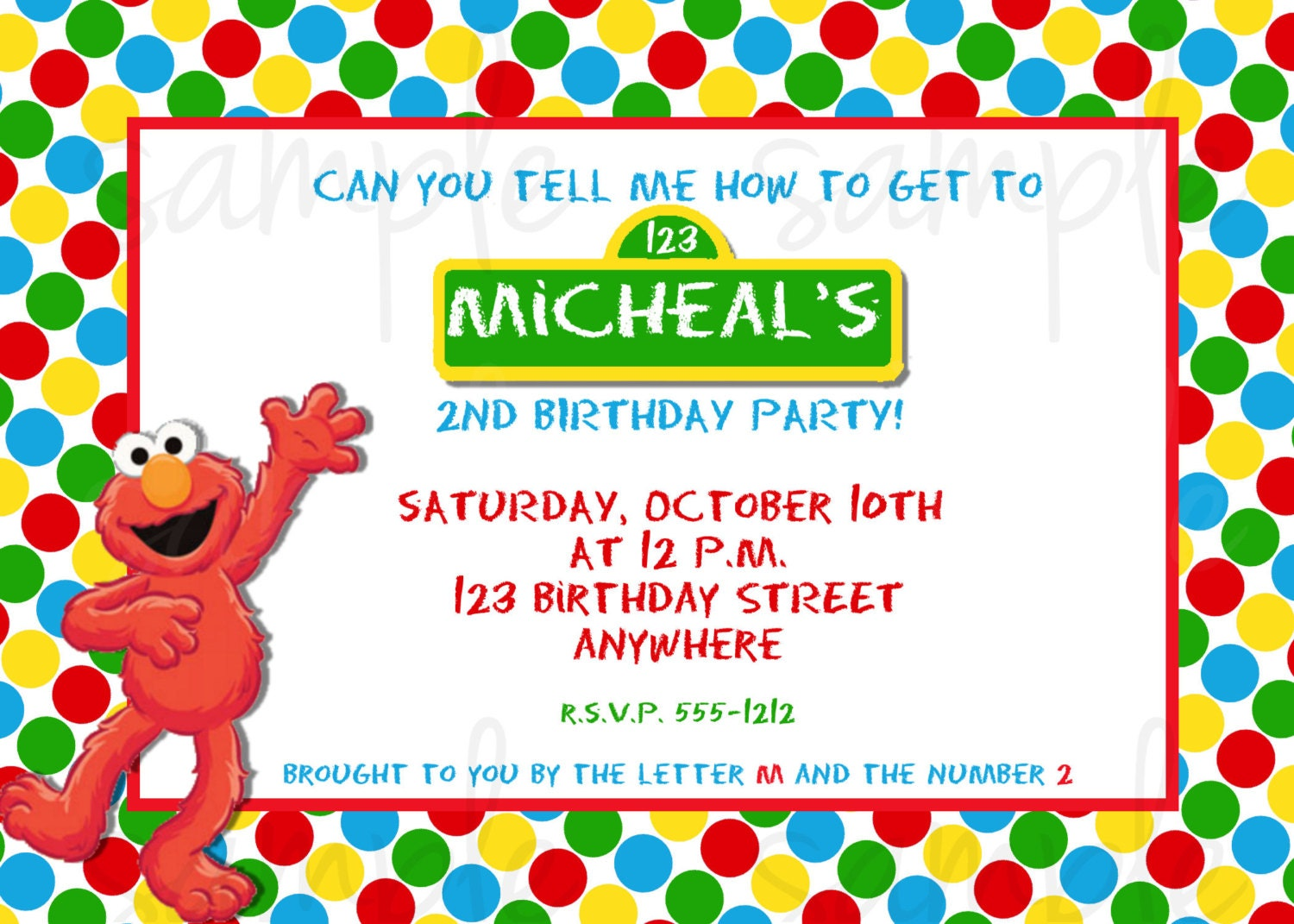 Elmo birthday invitation for Elmo template for invitations
