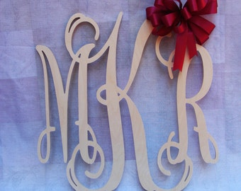 "28"" Vine Script Three Letter Monogram- Wood Letter monogram-home decor- wedding decor"