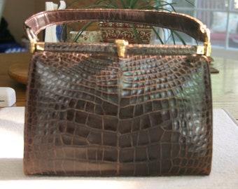 Saks Fifth Avenue Lucille de Paris Brown Alligator Handbag  c1940's  with Tan Leather Inside