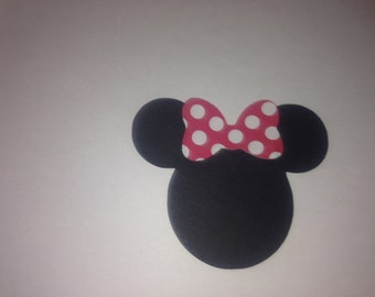 "30  3"" Minnie Mouse Head Silhouettes  Die Cut Black Cutouts with Red and White Polka Dot Bows"