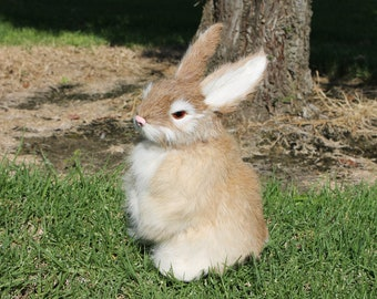 Tan Brown Rabbit Standing Easter Bunny Furry Animal Taxidermy Decor