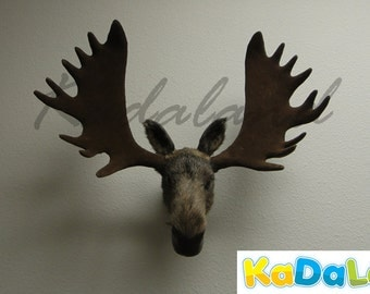 Furry Animal Moose Head Moosehead Wall Mount Replica Wildlife Decor Cabin Small