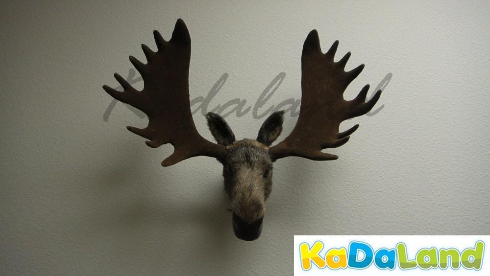 furry animal moose head moosehead wall mount replica wildlife decor cabin small - Animal Head Wall Decor