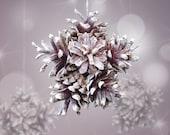 Pine cones snowflake Ornament nature and original decor for Christmas tree