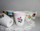 RESERVED Boch La Louviere Belguim 6 pastel vintage milk mugs cups flowers roses Shabby Chic kitchenware