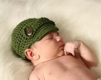Newsboy/Newsgirl Style Crochet Hat with Mary Jane Strap