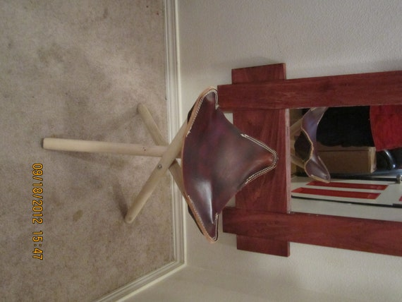 Leather tripod stool