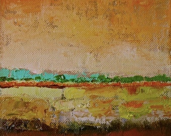 "September,original oil on canvas,abstract landscape,6""x6""x1 1/2"""