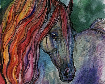 Rainbow horse watercolor painting
