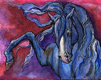 Blue horse watercolor painting