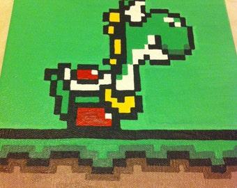 Yoshi Super Mario World Nintendo-8 bit Pixel Art 8x8 Painting