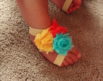 Baby Sandals & Headband, Mini flower Sandals, Barefoot Sandals, Baby Shoes, Baby Headbands