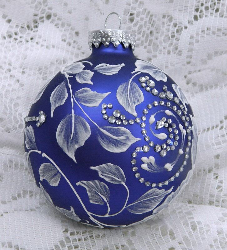Royal Blue Christmas Ornament with Hand Painted MUD 3D Flowers