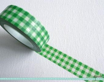Washi Tape - Green Gingham // Green Gingham Washi Tape, Gingham Washi Tape, Gingham Check Washi Tape, Green Washi Tape, Masking Tape // 10m