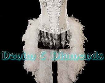 Size M-White Brocade Feature Entertainer Theater Showgirl Costume Moulin Burlesque Feather