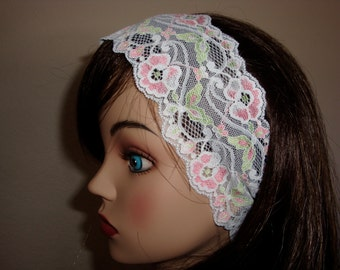 White Lace headband with pink and green