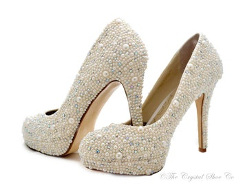 Swarovski pearl ivory cream crystal encrusted embellished wedding Bridal platform high heel shoes