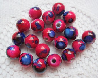 20 Magenta Pink & Purple Acrylic Round Beads  10mm