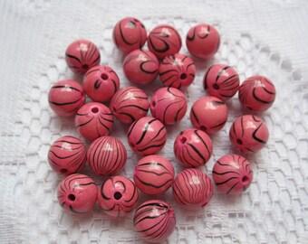 16  Pink & Black Striped Round Acrylic Beads  10mm