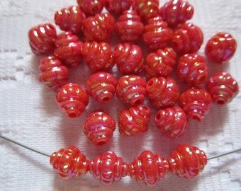30  Red AB Lantern Acrylic Beads  8mm x 10mm