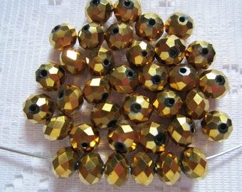 25  Metallic Gold Rondelle Crystal Faceted Beads  6mm x 4mm