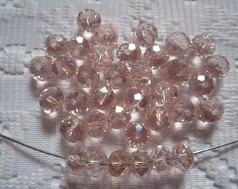 35  Pink Blush AB Faceted Rondelle Crystal Beads  8mm x 6mm