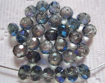 24  Grey Smoke & Blue Purple AB Faceted Rondelle Crystal Beads  8mm x 6mm