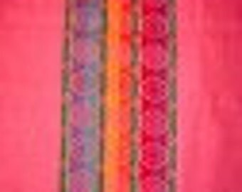 vintage cotton fabric, pink with multi color stripes