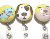 Retractable ID BADGE Reel Holder, Lanyard-Cute Puppy Dogs on Lime Green