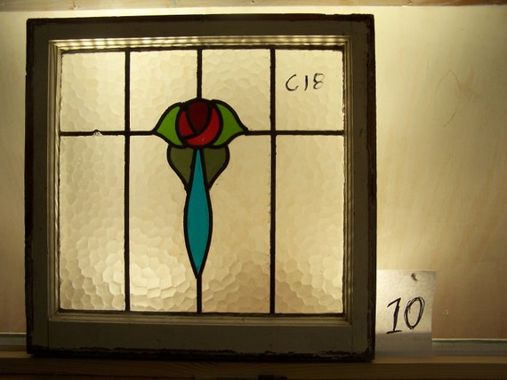 Brilliant English all textured Mackintosh rose stained glass window in original frame