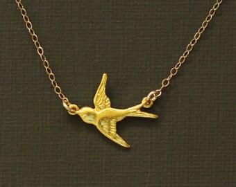 Tiny Gold Sparrow Necklace