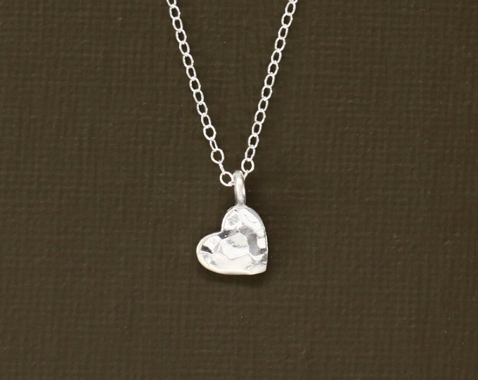 Small Sterling Silver Heart Necklace - Hand Hammered