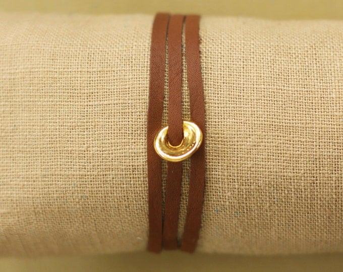 Leather Wrap Bracelet with Gold Puka Shell