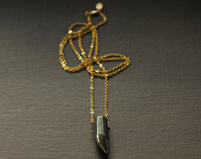 Horn Necklace - Pyrite Bullet Shaped Necklace