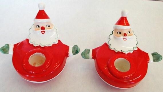 Vintage Napco Ceramic Santa Candle Holders