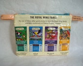 """Water-proof zippered pouch made from an orange bird seed bag - 7.5"""" wide by 5.5"""" tall"""