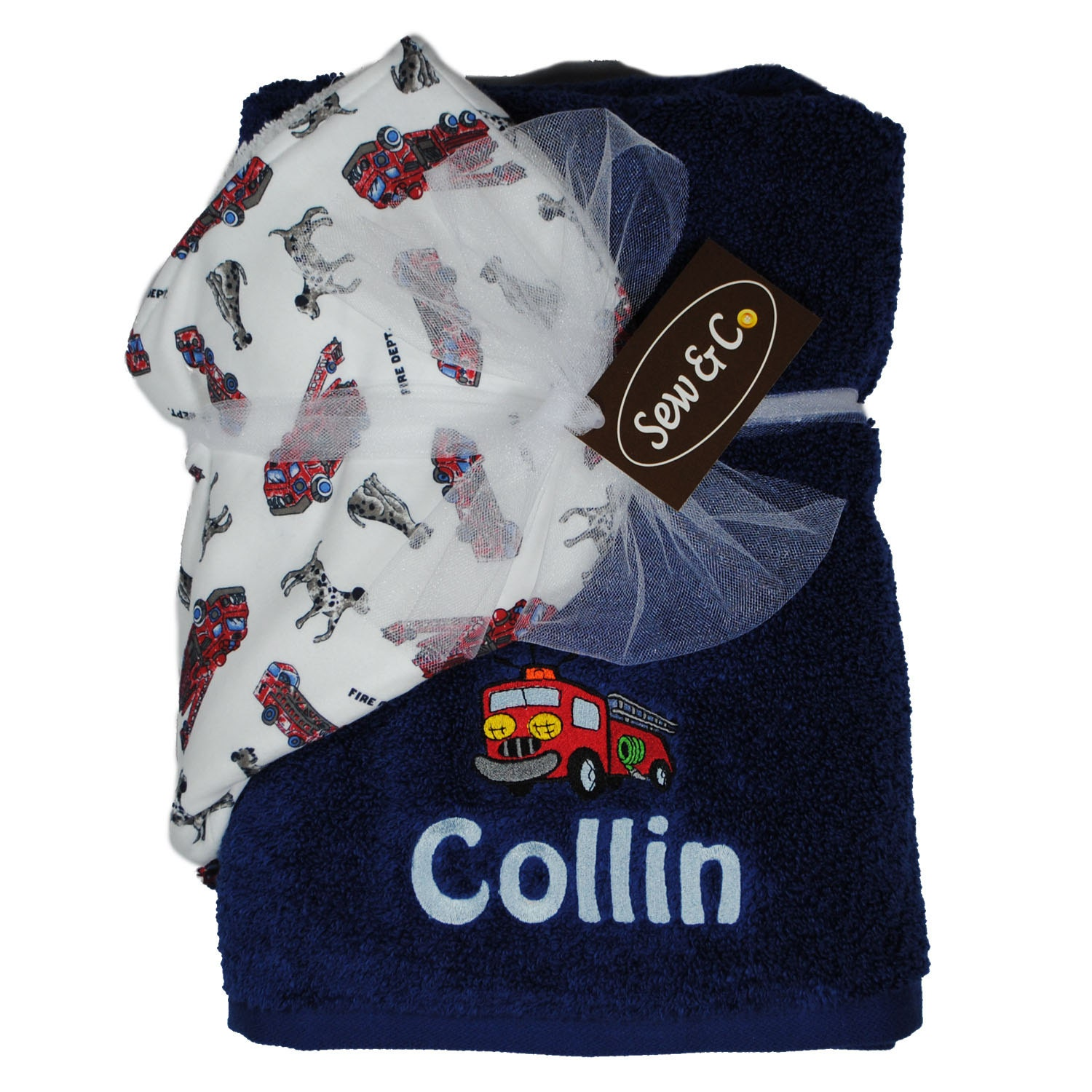 Embroidered Towels Custom: Custom Embroidered Hooded Bath Towel Fire Truck Theme