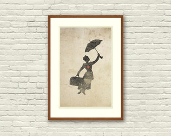 Mary Poppins Inspired Silhouette: 8X10 Art Print, With Heart Studios - Disney, Nursery, Gift, Poster, Vintage