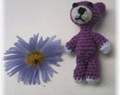Purple and Red 2 Crochet Miniature Bear Necklace