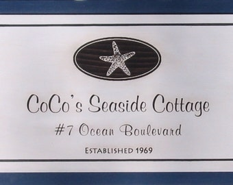 Seaside Cottage Sign Personalized - Custom Beach Decor - Shorehouse Signs - Seaside Cottage Custom Decor - Cape House Custom Sign