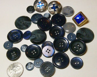 LOT of 30 Buttons- Assorted Blue Buttons - Plastic Buttons