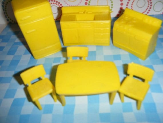Vintage Superior Plastic Dollhouse Furniture Yellow Kitchen Set Refridgerator Sink Stove Table and Chairs