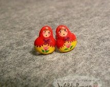 Button earrings Russian dolls - matriochka - Winter -holidays - handmade