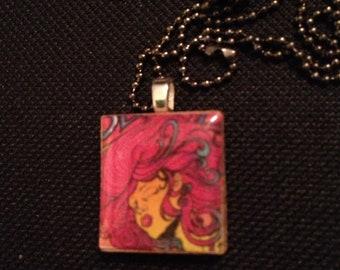 Retro Rock n Roll Girl Scrabble Tile pendant necklace on ball chain