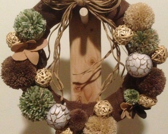 Pom Pom and Wicker Wreath